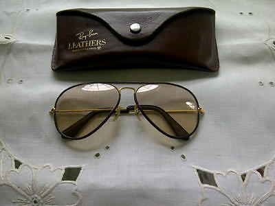 Vintage aviator 54 mm leather wrapped brown Ray Ban Sunglasses