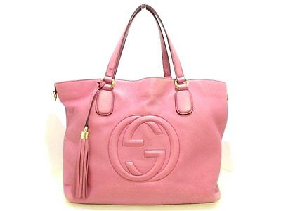 Auth GUCCI Soho 282303 Pink Leather Tote Bag w/ Tassel Charm