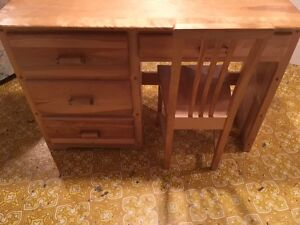 solid wooden desk and chair