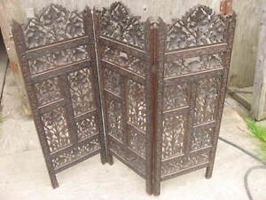 Small Anglo-Euro Indian Carved Wood Window Size 3 Panel Screen