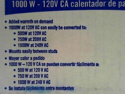 Broan 170 Wall Heater 500/1000 Watt 120 VAC - White