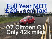 42k miles! 2007 Citroen C1 1.0l £1495 *like fiesta clio yaris micra corsa aygo 107 C3 polo,