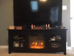 """Inglenook 58"""" TV Stand with Fireplace - Black"""