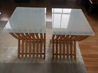 Pair of Habitat bedside tables - v.g.c - Frosted glass tops and cherrywood legs