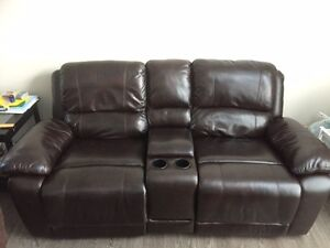 Recliner leather loveseat