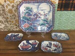F33038 Japanese Blue and White Plates Set Birds Floral Peacocks Sushi