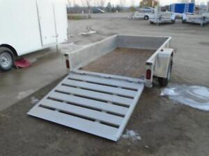 **USED** 5X8 ALUMINUM UTILITY TRAILER - SOLID SIDES, BIFOLD GATE London Ontario image 4