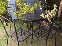 Black Bistro Table & 4 Chairs