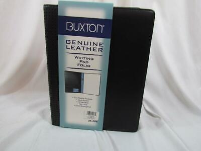 Buxton Executive Id Window Writing Pad Folio Black Interior Pockets Pen Loop