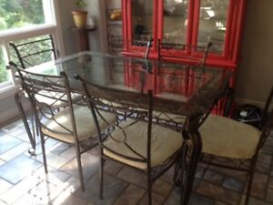 Glass top/ marble edged dining table, six chairs