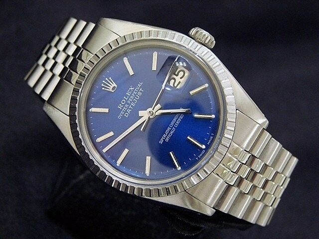 $2516.66 - Mens Rolex Datejust Stainless Steel Watch Jubilee with Submariner Blue Dial 1603
