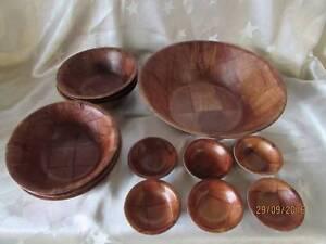 Retro Vintage Moulded Bamboo Salad / Condiment Bowls Set Shortland Newcastle Area Preview