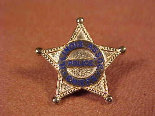 Vintage Illinois Police Chiefs Association Badge Lapel Pin 5 Pointed Star ScrewB