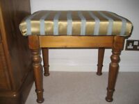 Ducal Pine Dressing Table Stool With Gold And Duck Egg Blue, Striped Cover