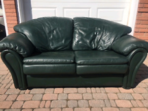 Dark Green Leather Couch Loveseat Sofa