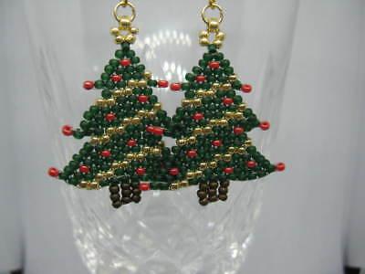 Handmade Seed Bead Christmas Tree Earrings