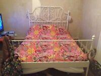 White king size bed frame