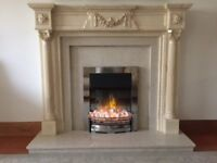 Immaculate Marble effect Fire Surround with marble base and back
