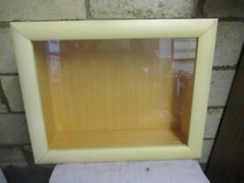 Wall Mounted Wood/Glass Display Cabinet with 5 Glass Shelves