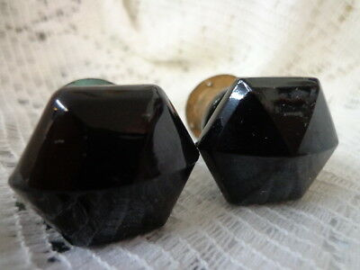 RARE 2 Black Amethyst Glass fuse box FUSES Faceted 1930's SHIPS FREE!