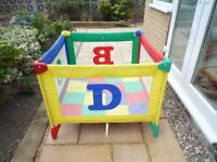 Cumfi Travel Cot and Playpen. Easily folds away. Very Strong. Excellent condition