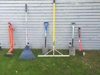 Garden tools, Axe,rakes,strimmer