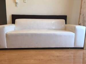 White pu leather Sofa , 2 x bedside tables , 2x mirrors. vessels, Campsie Canterbury Area Preview