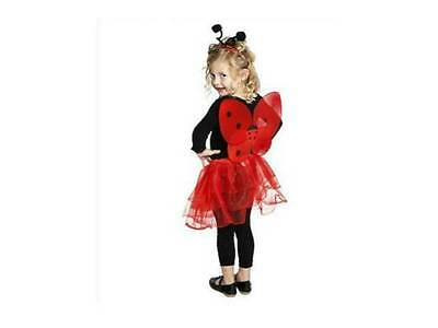 Ladybug Fairy Girls Costume Tutu Wings Headband Fits Age 4-8 Red Halloween NEW (Halloween Costumes For Girls Age 4)