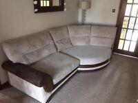 SCS Kirk cuddle sofa. Four seater curved corner sofa.