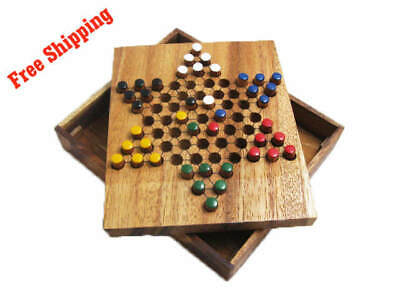 CHINESE CHECKERS, Classic Strategy Wooden Game, Board Game, Brain (Chinese Checkers Game Board)