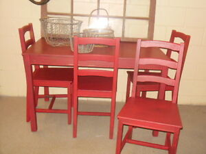 wood table and chairs in red London Ontario image 5