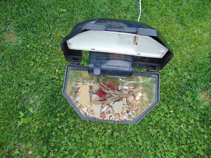 1 small Aquarium 16x11x10 gallons 5. with cover and light and fi