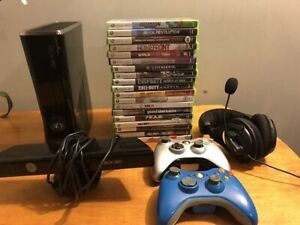 Xbox 360 with 22 games and drums and guitar