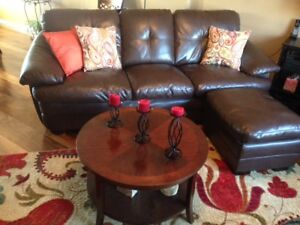 Living room set, genuine leather, tables