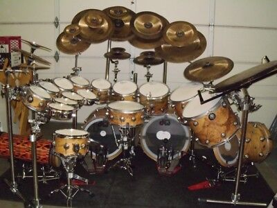 Collector's Series DW Olive Ash Burl w/Satin Lugs Drum Set with Many Extras