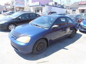 2003 Honda Civic LX Coupe Auto Blue  210,000km