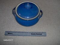 Denby pottery imperial blue casserole dish with carrying handles