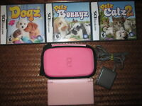***NINTENDO DS-LITE PINK W/CHARGER/CASE+3 GAMES!!!***