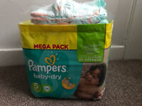 62 x Pampers Baby-Dry Nappies Size 5 . 9x Pamper Size 6 (71 nappies in total)