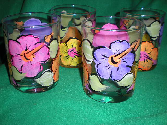 HAND PAINTED HIBISCUS 14 OUNCE  HIBALLS/ROCKS/JUICE SET OF 4/MADE IN THE USA