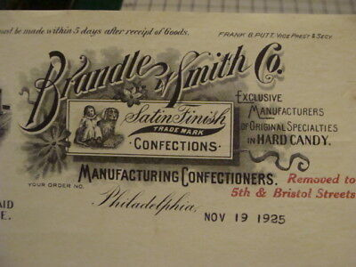 original Billhead -- 1925 -- BRANDLE & SMITH co HARD CANDY CONFECTIONS
