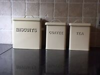 Cream Metal Cannisters for the Kitchen