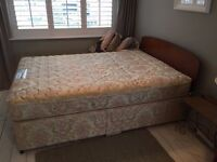 Standard Double bed with Mattress and Oak headboard. 15 years old. OK condition.
