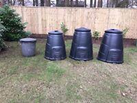 Three compost converter bins