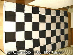 Fahnen Flagge Karo Schwarz Weiß Start Ziel - 2 - 150 x 250 cm