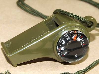 Emergency Hiking Survival Gear Whistle w/ Compass Thermometer & Neck Chord SOS
