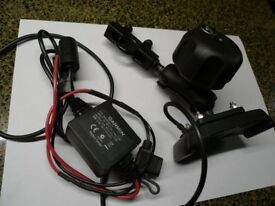 RAM/Garmin Zumo motorcycle mount and power supply for Garmin Zumo GPS device.