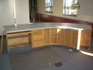 Large Commercial Curved Wood Desk $300.00 FIRM