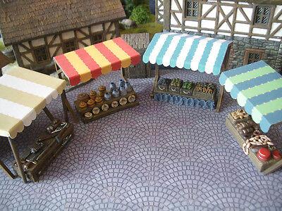 Set of 4 Bazaar Stands Thomarillion Unpainted Terrain D&D Dwarven Forge