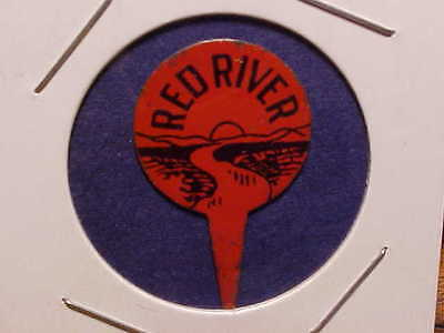 RED RIVER vintage tin tobacco tag